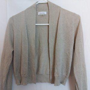 Calvin Klein Gold Metallic Cropped Shrug Sweater